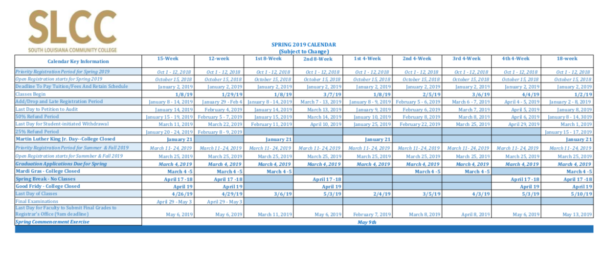 Academic Calendar South Louisiana Community College