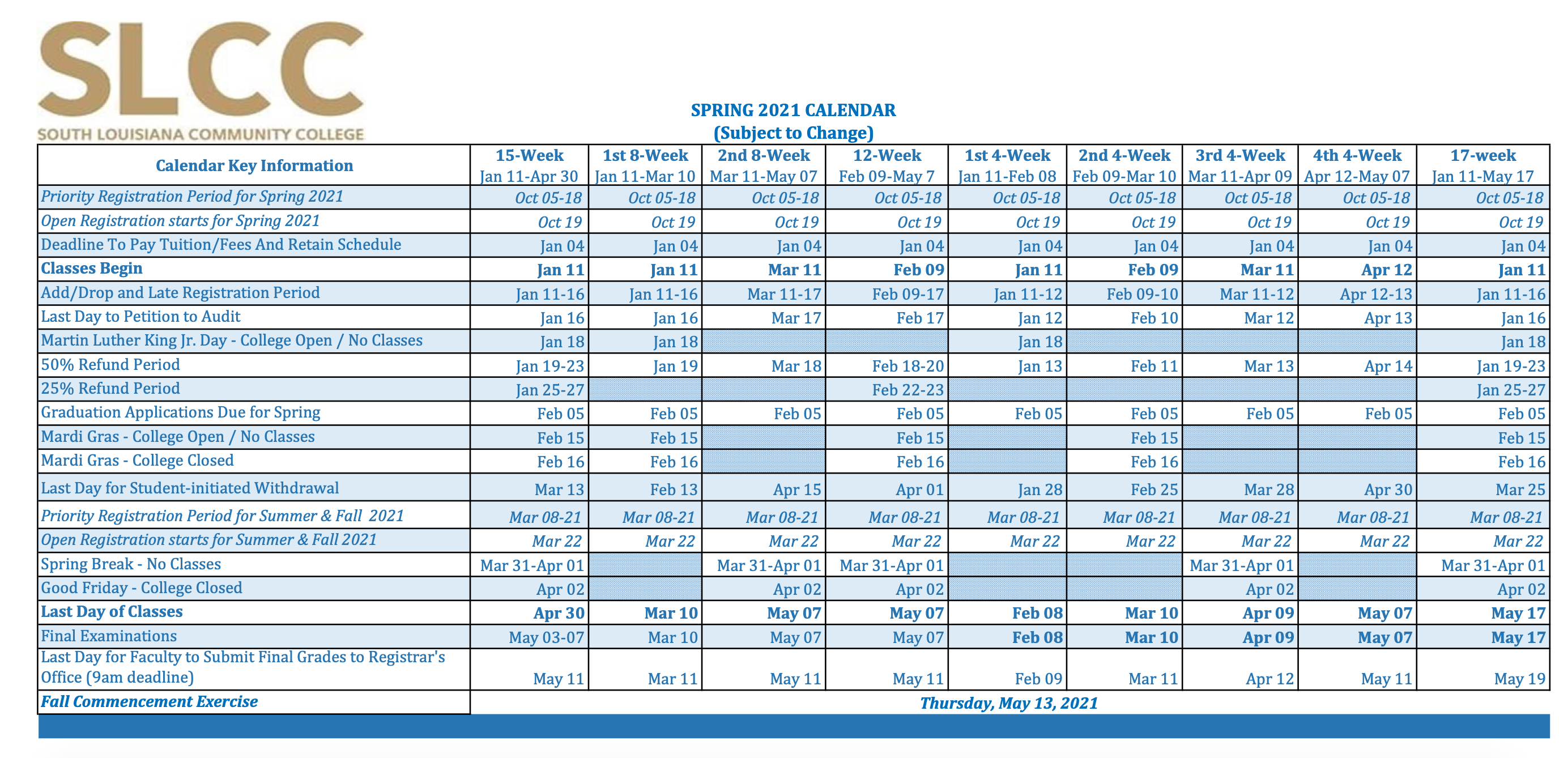 Slcc Academic Calendar 2022.Academic Calendar South Louisiana Community College Acalog Acms